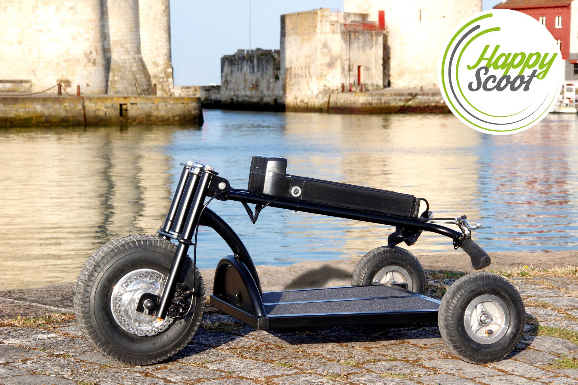 la trottinette lectrique 3 roues happy scoot fabriqu e. Black Bedroom Furniture Sets. Home Design Ideas
